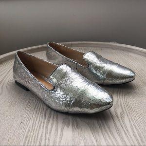 SCHUTZ silver loafers size 9.5B